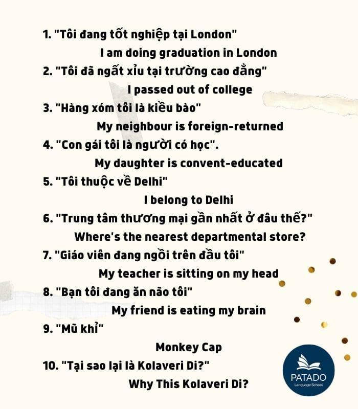 Thành ngữ học tiếng Anh phổ biến ở Ấn Độ-Patado